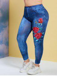 Insect Rose 3D Print Plus Size Jeggings -