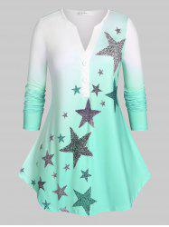 Plus Size Stars Print Ombre Color Tee -