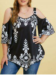 Printed Cold Shoulder Rings Plus Size Top -