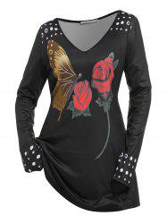 Plus Size Flower Butterfly Printed T Shirt -