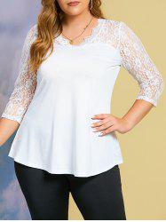 V Neck Solid Lace Panel Plus Size Top -
