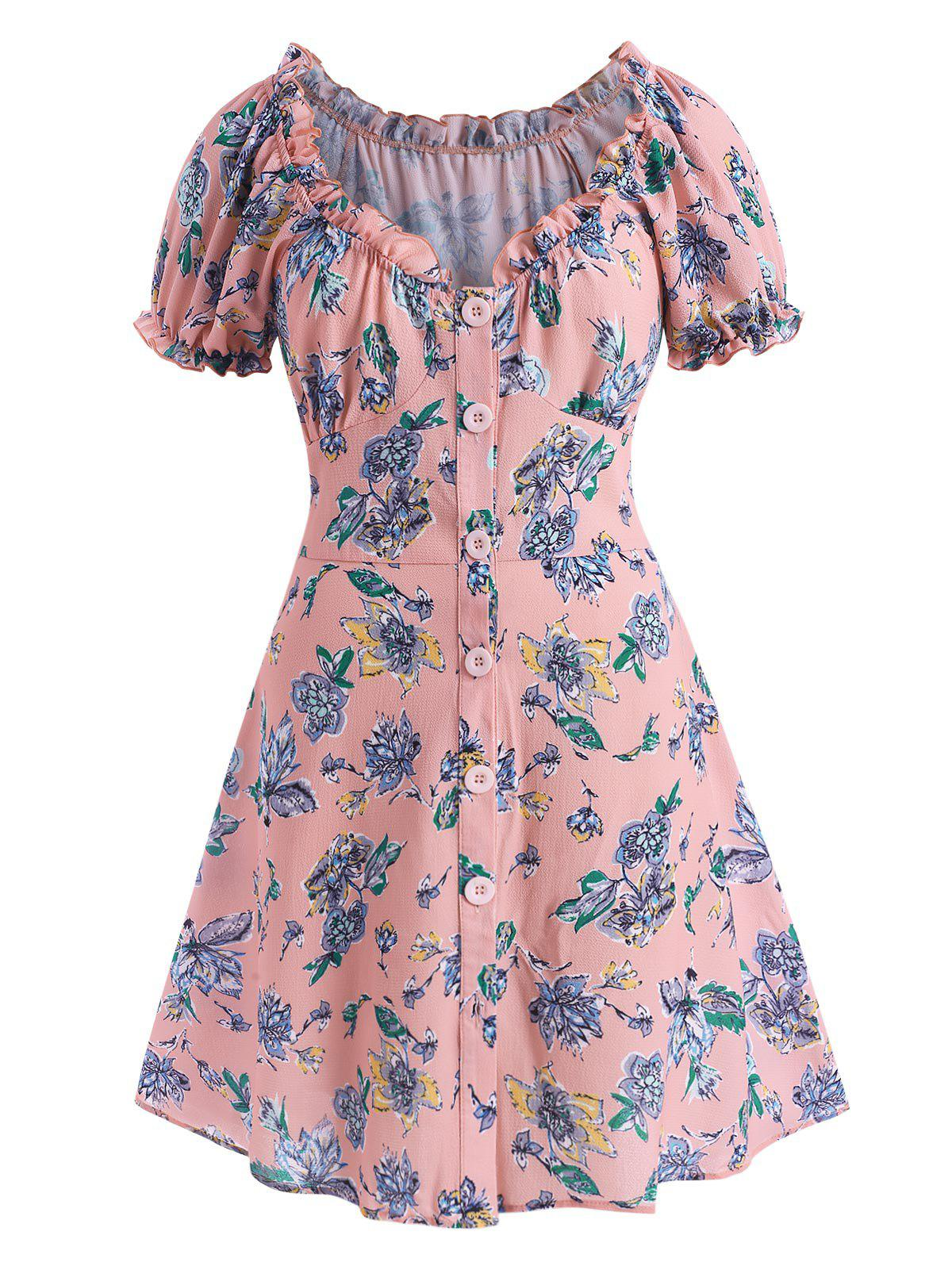 Cheap Plus Size Floral Frilled Button Down Puff Sleeve Textured Dress