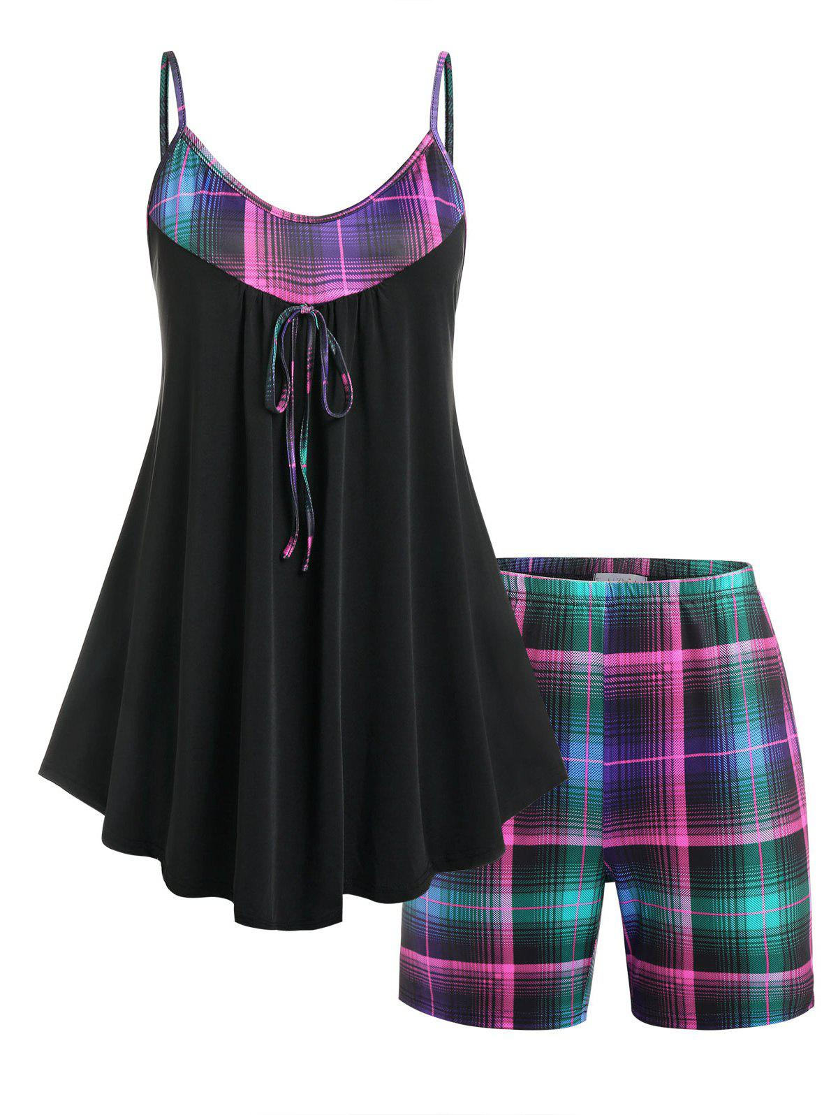 Affordable Plus Size Plaid Skirted PJ Cami Top and Shorts Set