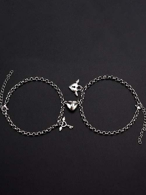 Buy A Pair Heart Magnet Lock And Key Couple Bracelet