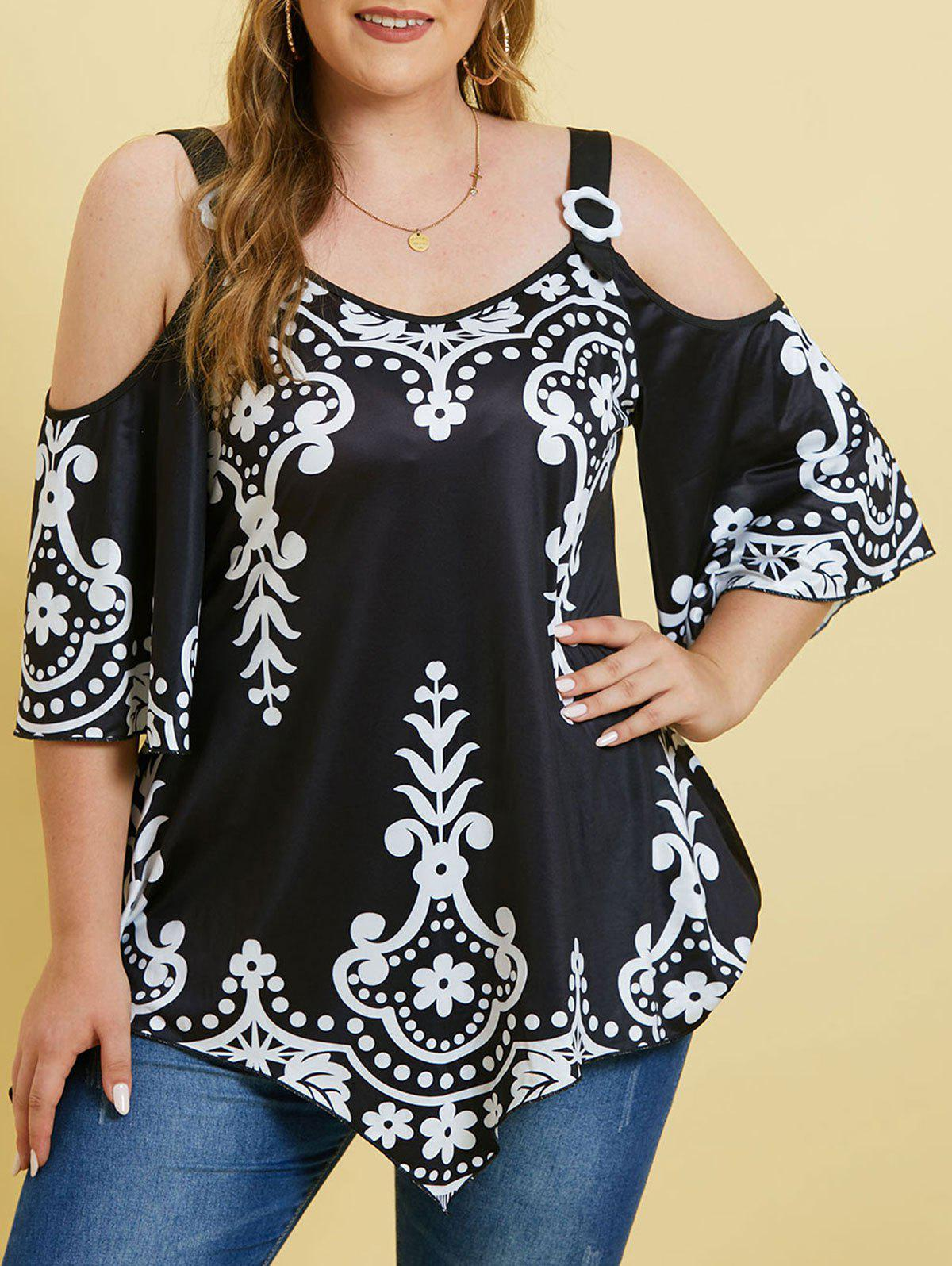 Discount Printed Cold Shoulder Rings Plus Size Top
