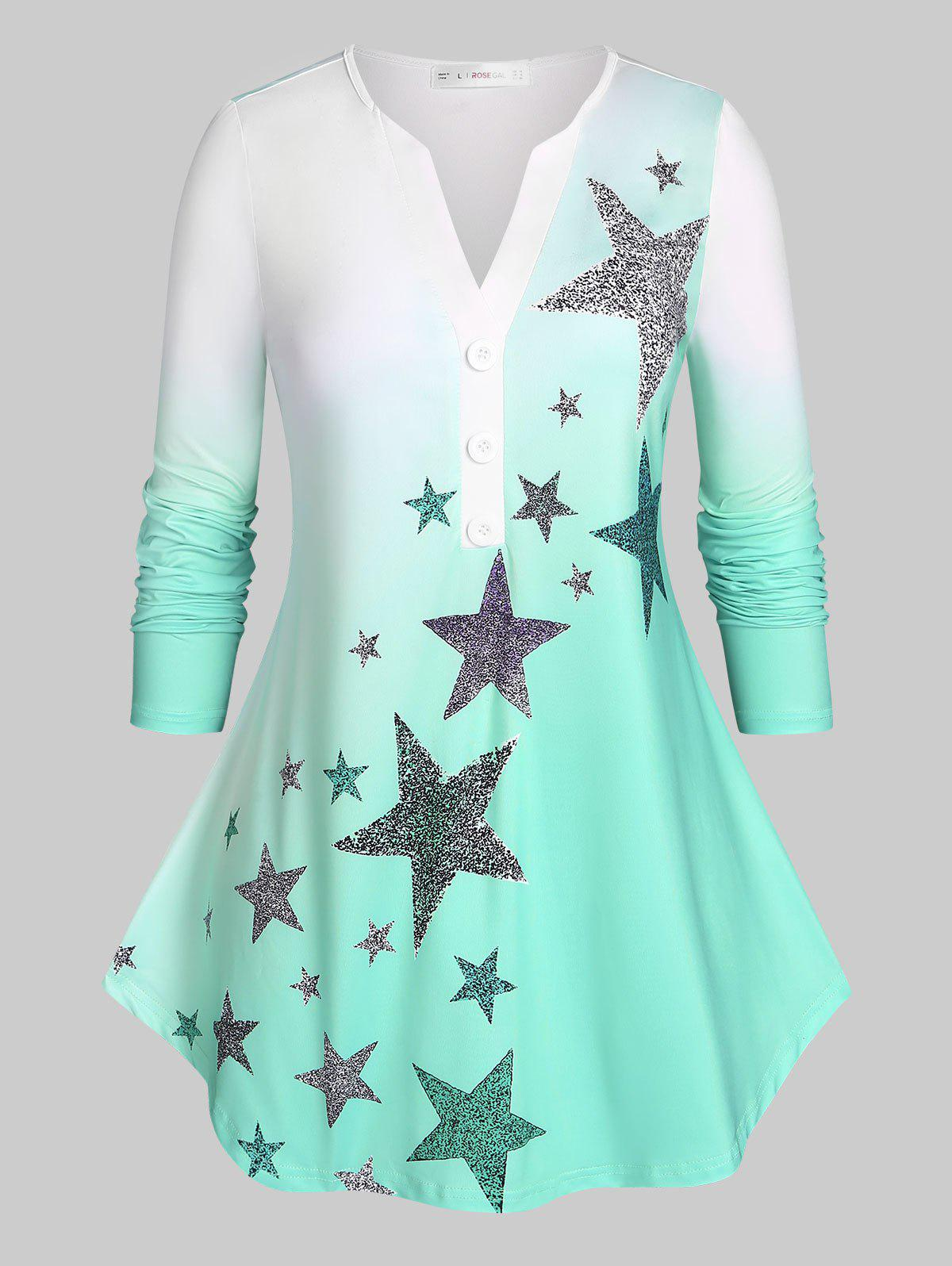Latest Plus Size Stars Print Ombre Color Tee