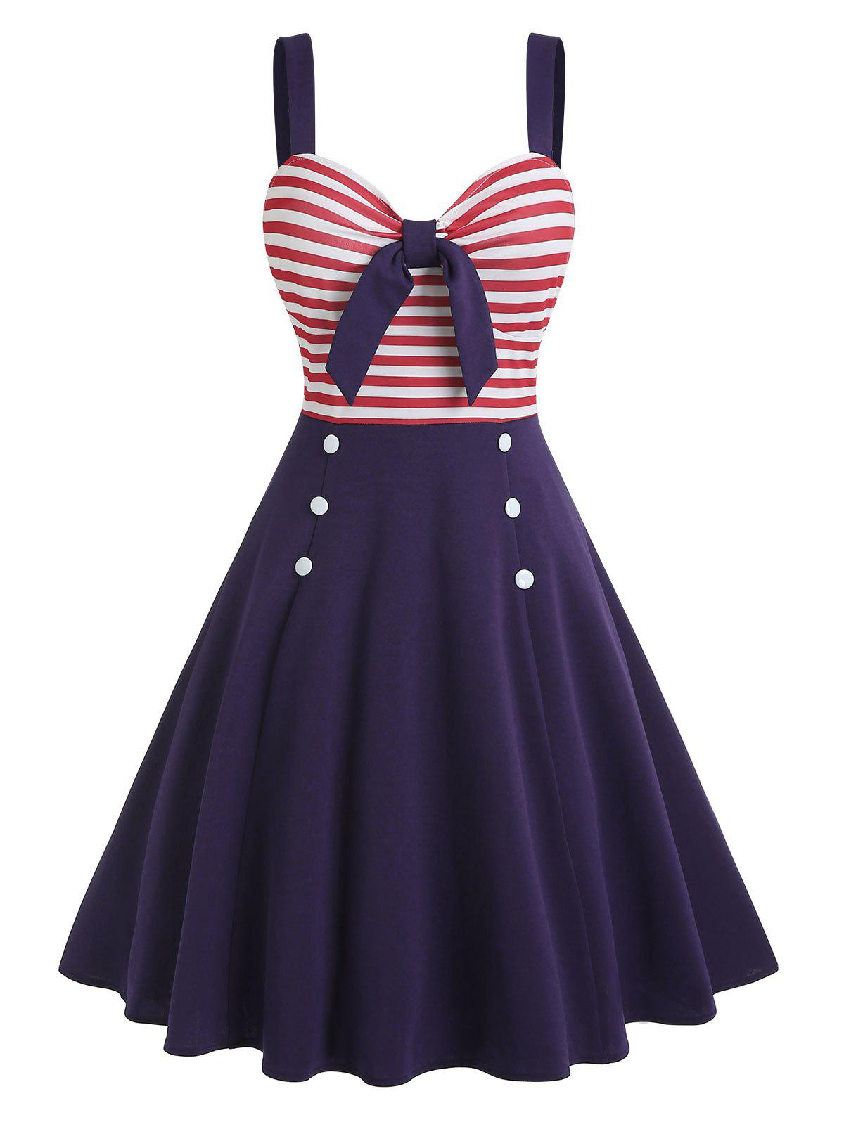 New Tied Striped Mock Button Dress