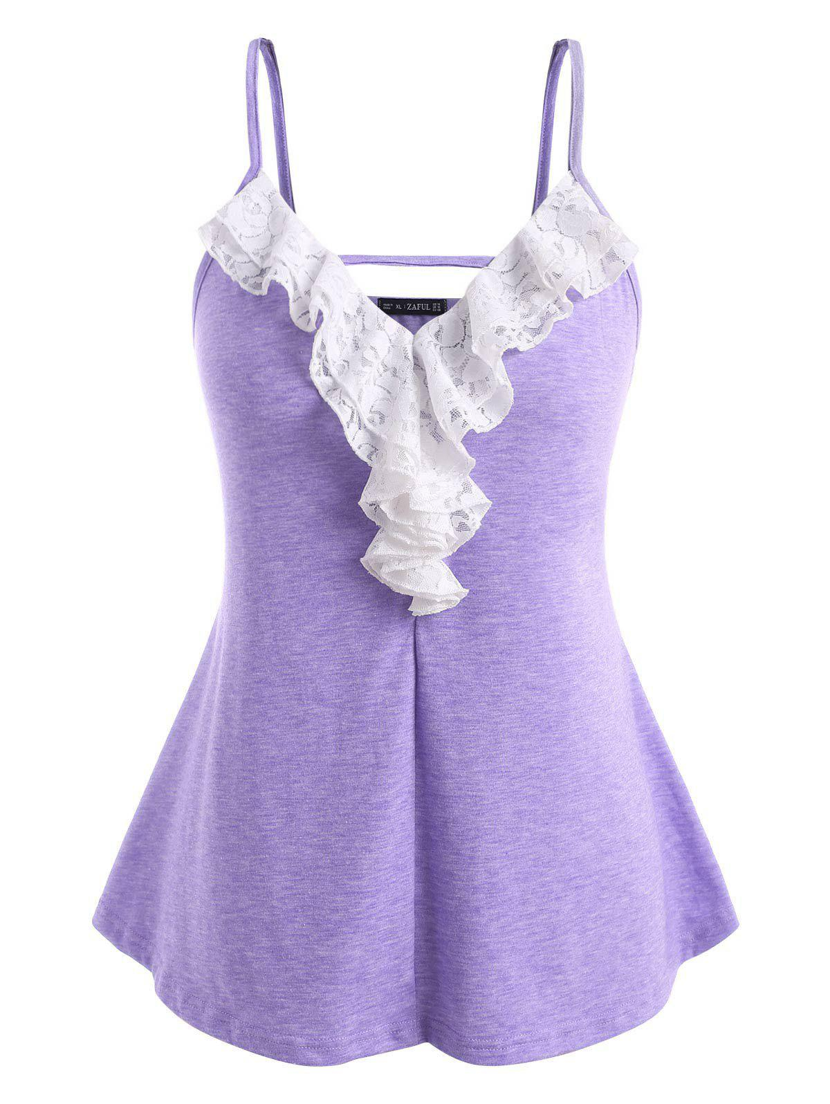 Discount Plus Size Lace Ruffle Cami Top