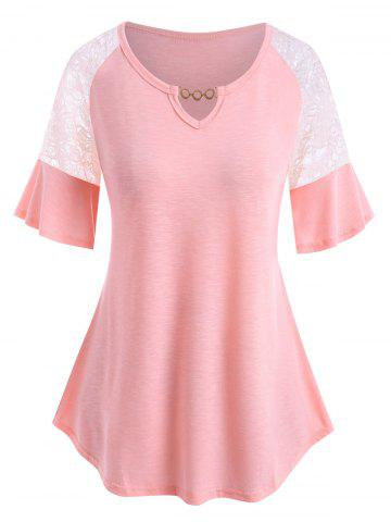 Plus Size Lace Insert Chain V Notch Flutter Sleeve Tee