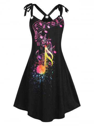 Plus Size Tie Shoulder O Ring Musical Notes Print Sundress
