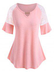 Plus Size Lace Insert Chain V Notch Flutter Sleeve Tee -
