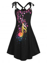 Plus Size Tie Shoulder O Ring Musical Notes Print Sundress -
