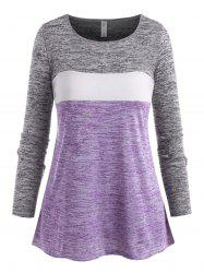 Plus Size Space Dye Color Blocking Jersey Tee -