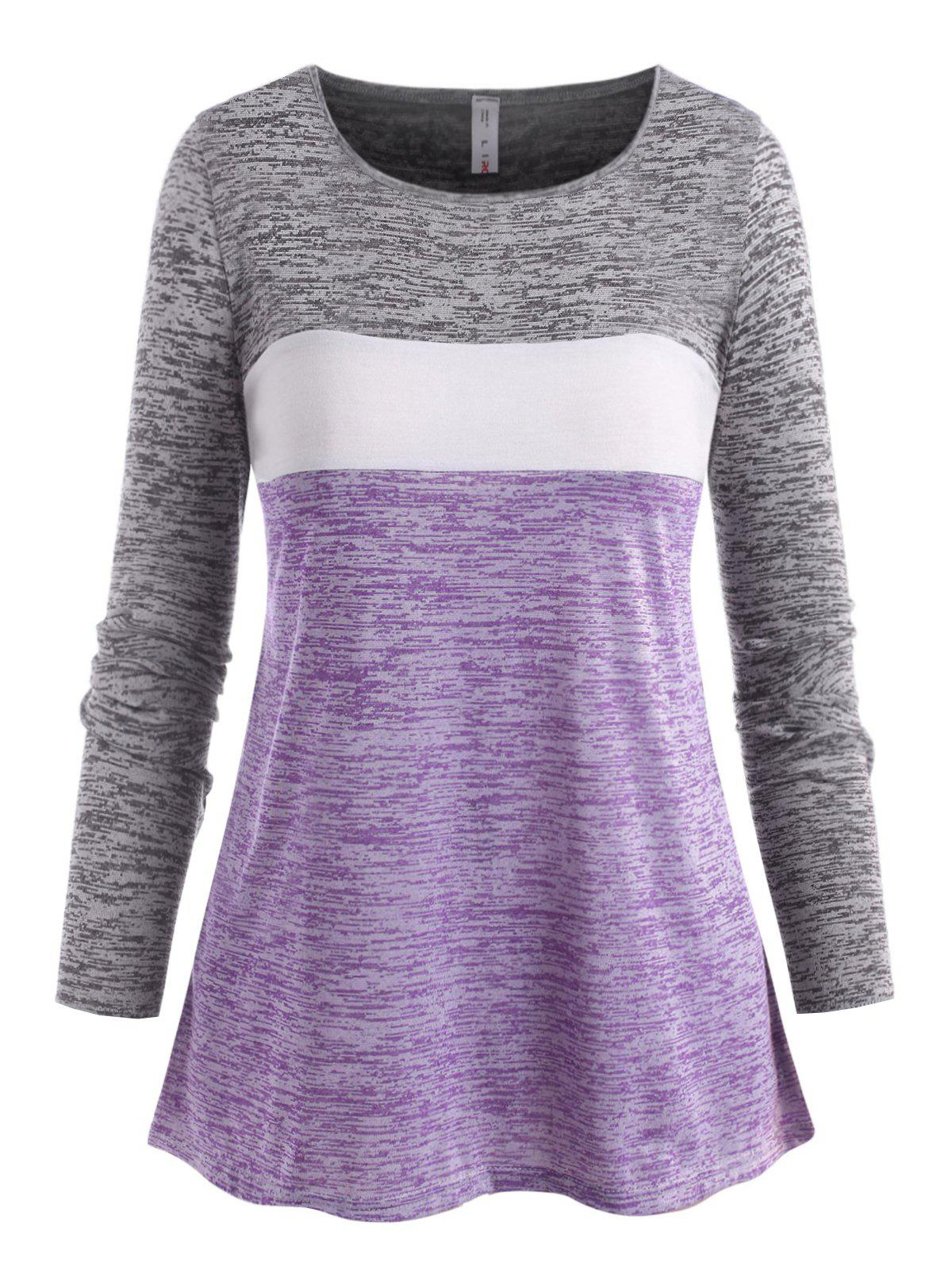 Latest Plus Size Space Dye Color Blocking Jersey Tee