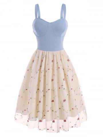 Lace Insert Flower Embroidered Cupped Dress