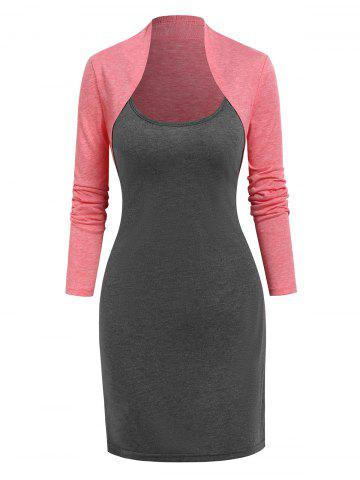 Casual Cami Dress and Heathered Cropped Cardigan - LIGHT PINK - XXXL