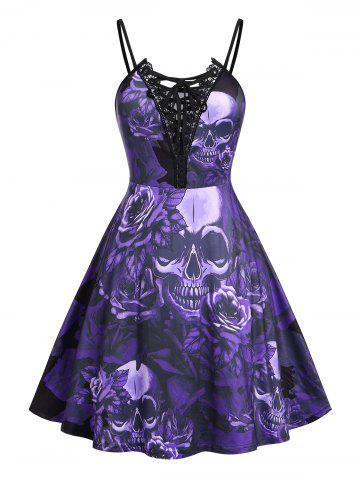 Plus Size Lace Up Skull Floral Print Cami Dress