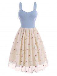 Lace Insert Flower Embroidered Cupped Dress -