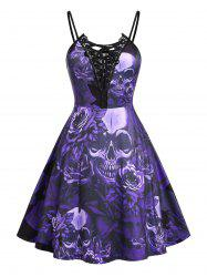 Plus Size Lace Up Skull Floral Print Cami Dress -