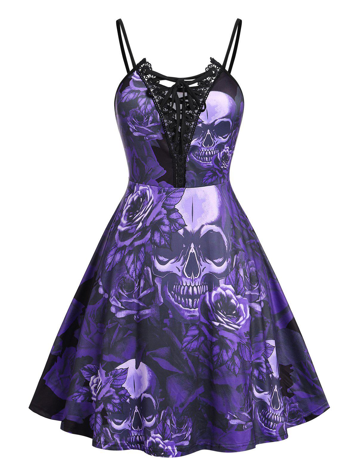 New Plus Size Lace Up Skull Floral Print Cami Dress