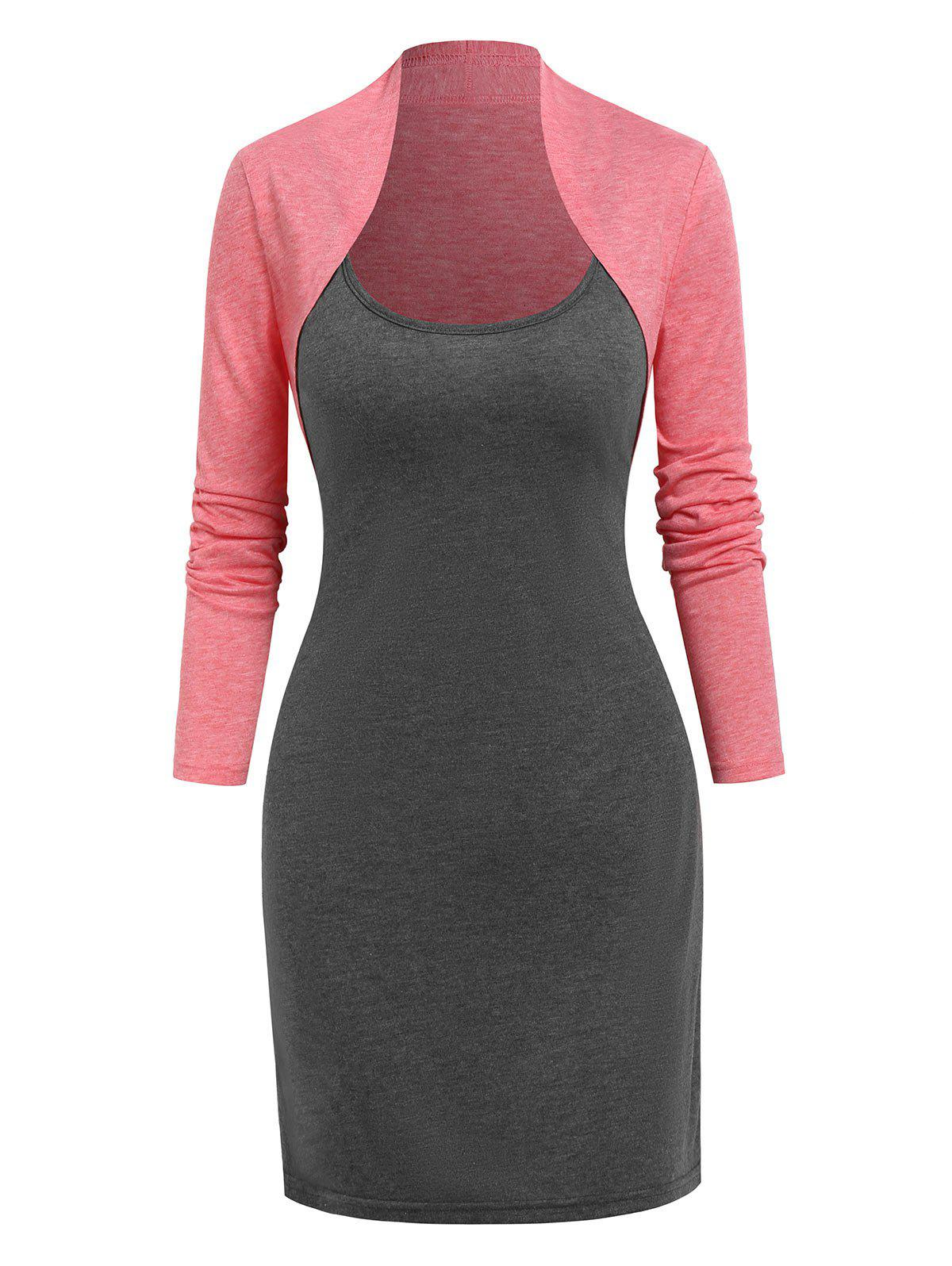 Fancy Casual Cami Dress and Heathered Cropped Cardigan