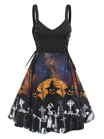 Gothic Lace Up Halloween Printed Dress