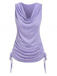 Cowl Neck Cinched Ruched Tank Top -