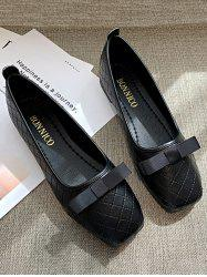Square Toe Bow Stitching Flat Shoes -