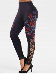 Lace Insert Floral Butterfly Print Leggings -