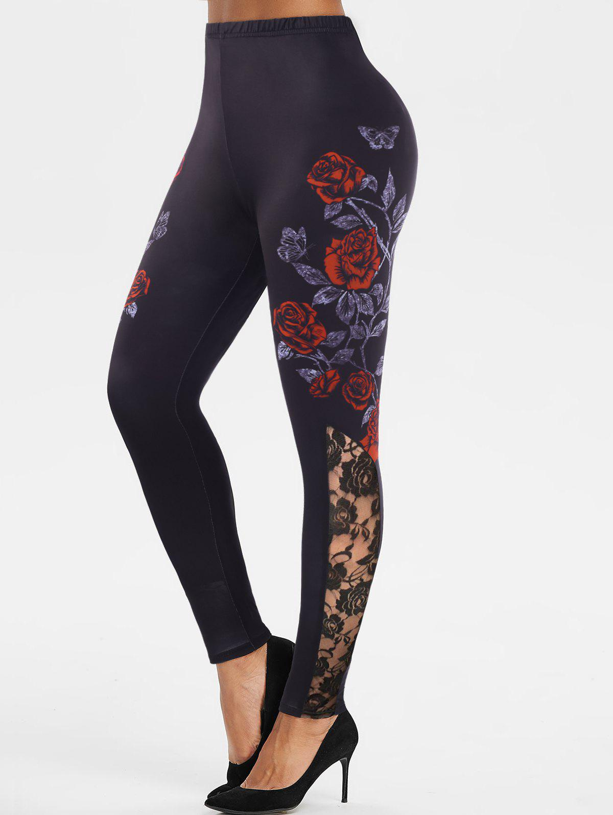 Hot Lace Insert Floral Butterfly Print Leggings