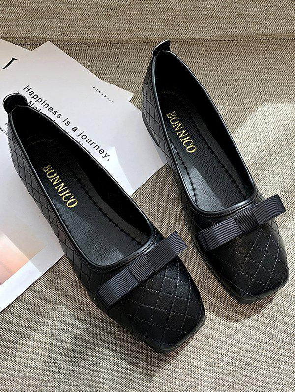 Discount Square Toe Bow Stitching Flat Shoes