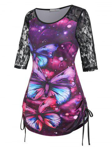 Plus Size Butterfly Print Lace Insert Drawstring Side T Shirt - CONCORD - 4X