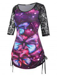 Plus Size Butterfly Print Lace Insert Drawstring Side T Shirt -