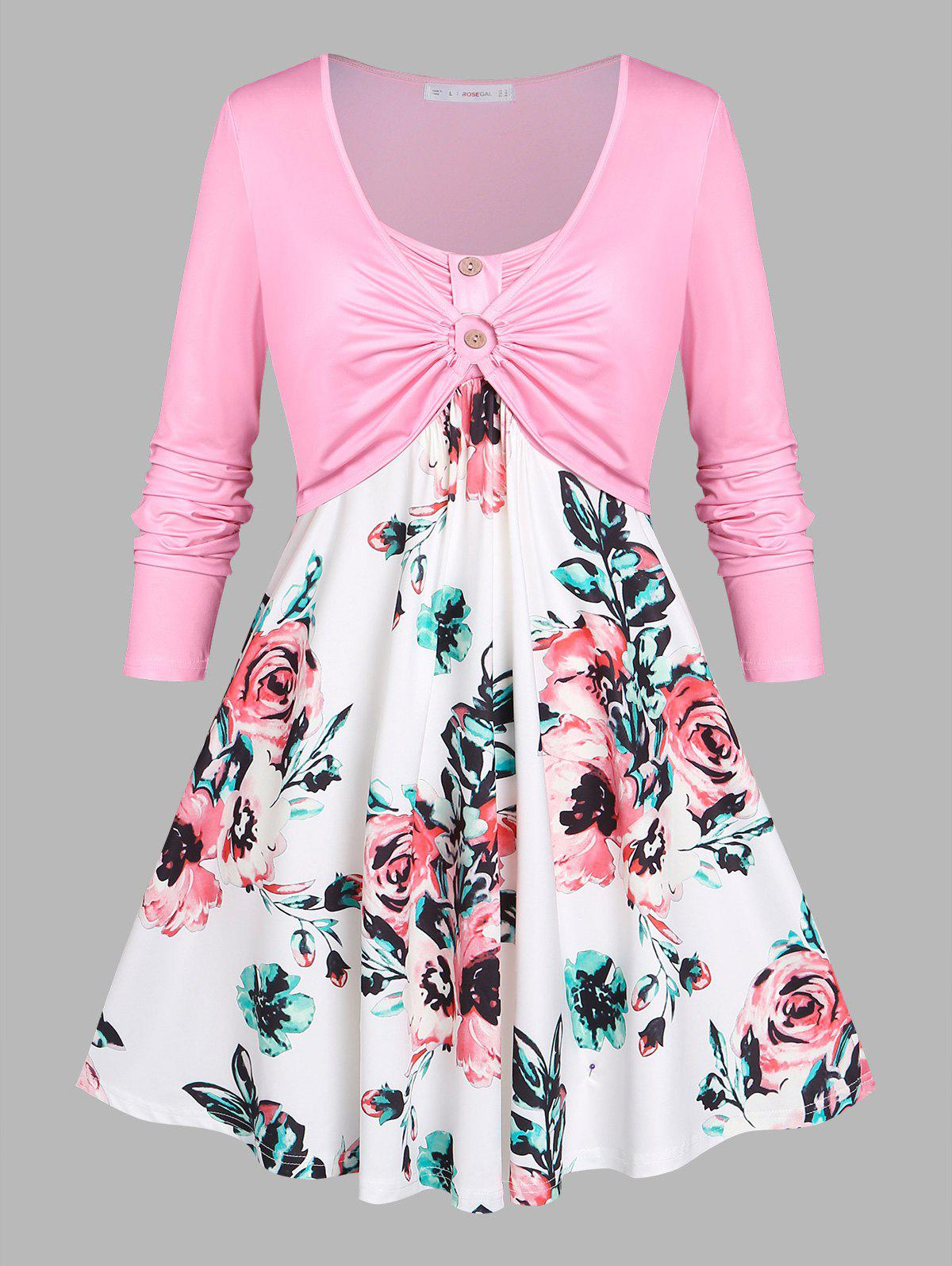 Discount Plus Size Flower Print O Ring Mock Button T Shirt