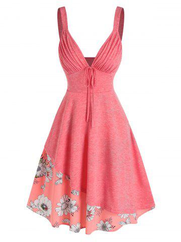 V Neck Pleated Floral Printed Layers Dress