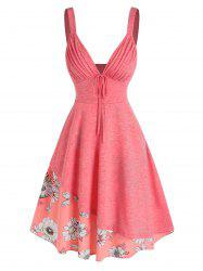 V Neck Pleated Floral Printed Layers Dress -