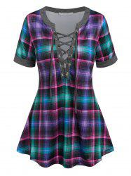 Lace Up Plaid Swing Tee -