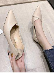Solid Pointed Toe Kitten Heel Shoes -