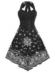 Plus Size Halter Lace Up Backless Skull Paisley Print Dress -
