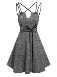 Strappy Belted Heathered Flare Dress -