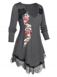 Plus Size Embroidered Flower Lace Edge T Shirt -