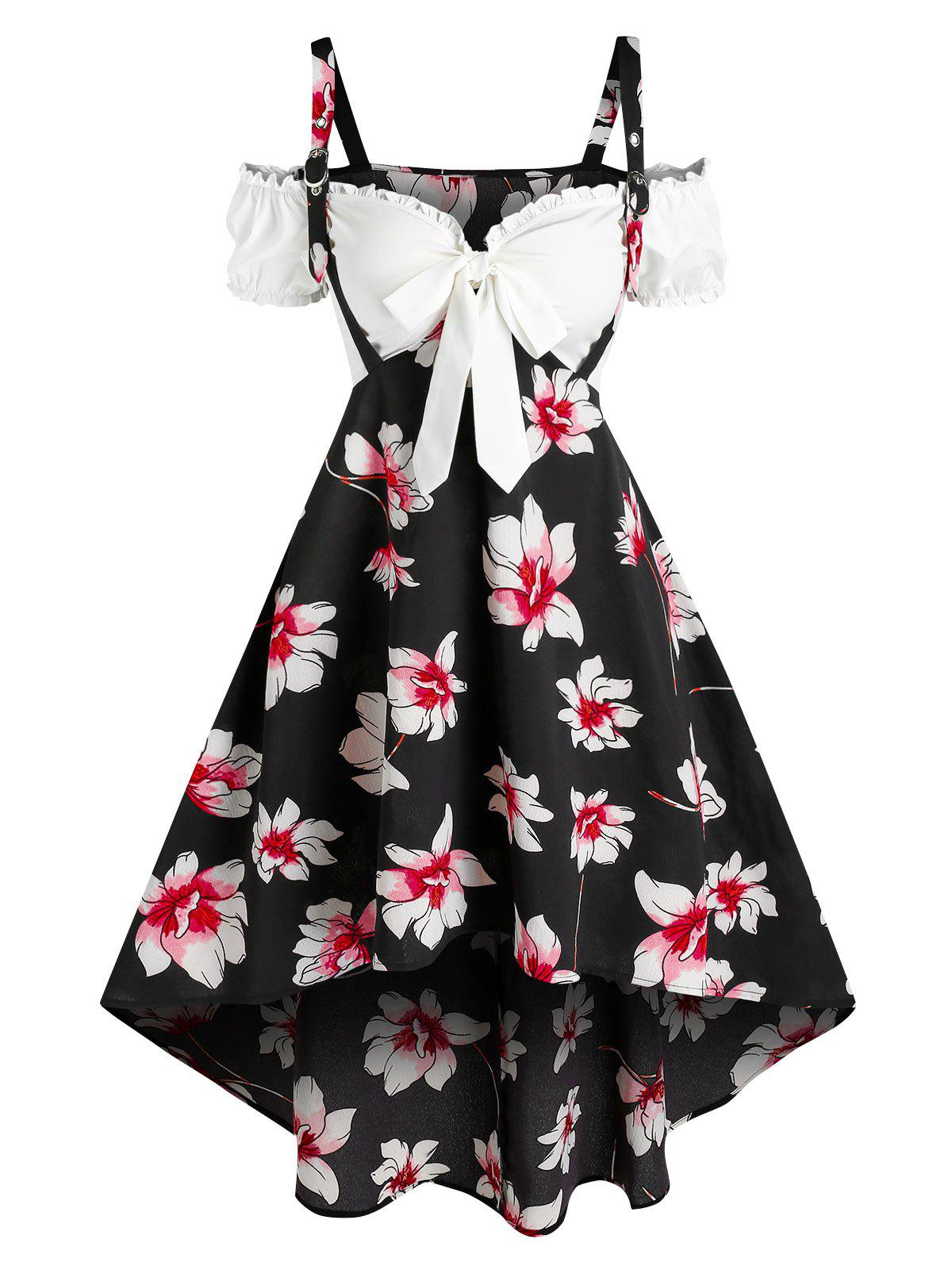 Outfit Flower Print High Low Twofer Dress