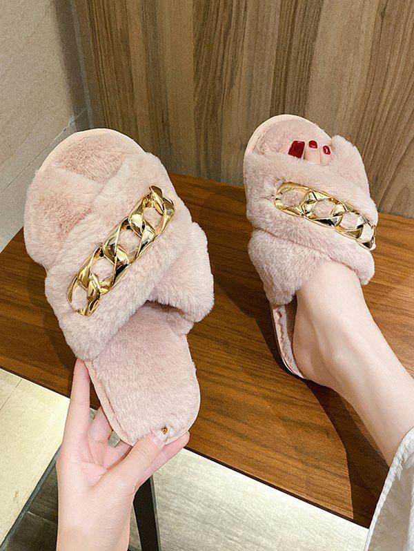 Outfit Criss-Cross Chain Furry Slippers
