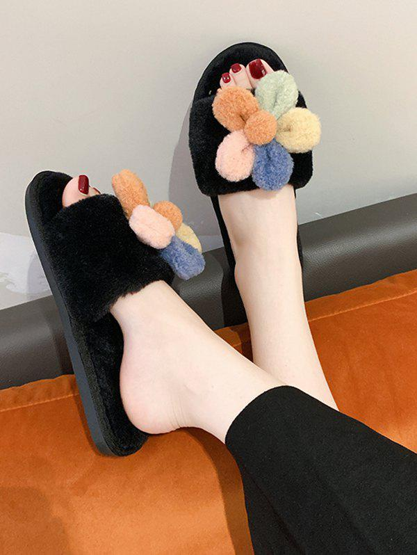 Outfit Flower Decor Furry Indoor Slippers