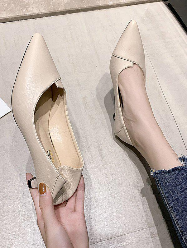 Shop Solid Pointed Toe Kitten Heel Shoes