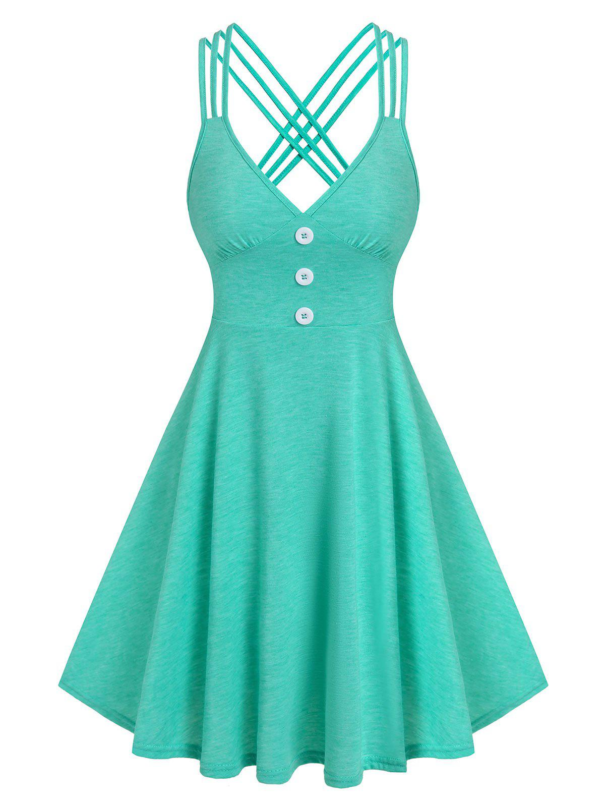 Outfit Strappy Mock Button Heathered Dress