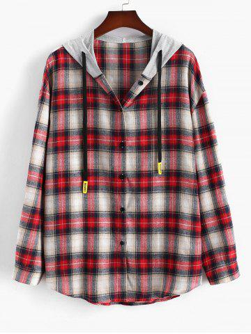 Plus Size Contrast Hooded Plaid Button Down Shirt - RED - 2XL