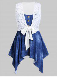 Plus Size Broderie Anglaise Front Tie Top And Handkerchief Cami Set -