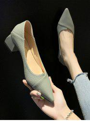 Pointed Toe Chunky Heel Slip On Shoes -
