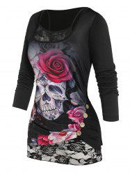 Plus Size Skull Flower Mock Button T Shirt with Lace Insert Camisole -